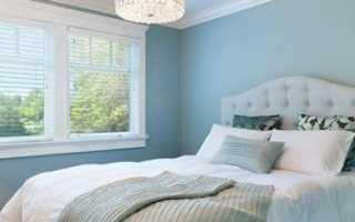 Пример интерьера спальни в голубых тонах