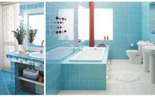 Синяя ванная комната: мебель и плитка для ванной комнаты синяя